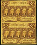 Fractional Currency:First Issue, Fr. 1281 25¢ First Issue Uncut Vertical Pair Extremely Fine.. ...