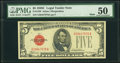 Fr. 1528 $5 1928C Mule Legal Tender Note. G-A Block. PMG About Uncirculated 50
