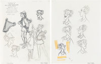 The Black Cauldron Fflewddur Fflam and Witches of Morva Character Design Drawings by Milt Kahl Group of 5 (Walt Disney...