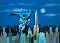 The New Adventures of Batman Production Cel and Master Background (Filmation, c. 1970s)