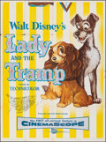 "Movie Posters:Animation, Lady and the Tramp (Buena Vista, 1955). Folded, Fine+. Partial Three Sheet (42"" X 56.5""). Animation.. ..."