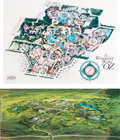 Memorabilia:Print, The Wonderful World of Oz Theme Park Map and Overview Print (Landmark Entertainment, c. 1990s).... (Total: 2 Items)
