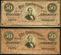 Confederate Notes:1864 Issues, T66 $50 1864 Two Examples Fine or Better.. ... (Total: 2 notes)