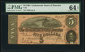 Confederate Notes:1864 Issues, T69 $5 1864 PMG Choice Uncirculated 64 EPQ.. ...