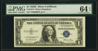 Scarcer *F Block Fr. 1614* $1 1935E Silver Certificate Star. PMG Choice Uncirculated 64 EPQ