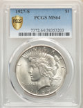 Peace Dollars: , 1927-S $1 MS64 PCGS. PCGS Population: (1587/93). NGC Census: (1037/77). CDN: $750 Whsle. Bid for problem-free NGC/PCGS MS64...