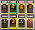 Autographs:Post Cards, Hall of Fame Signed Plaque Postcard Lot of 8, PSA/DNA Auth...