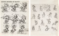 Memorabilia:Disney, Mickey Mouse and Friends Studio Model Sheet Group of 17 (Walt Disney, c. 1930s-70s).... (Total: 17 Items)