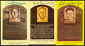 Autographs:Post Cards, Signed Gold Baseball Hall of Fame Plaque Post Cards (3). ... (Total: 10 items)