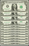 Small Size:Federal Reserve Notes, Complete District Set Fr. 1901-A-L $1 1963A Federal Reserve Notes. Twelve Examples. Choice Crisp Uncirculated.. ... (Total: 12 notes)