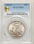 Walking Liberty Half Dollars: , 1929-D 50C MS62 PCGS. PCGS Population: (128/966). NGC Census: (99/420). CDN: $565 Whsle. Bid for problem-free NGC/PCGS MS62...
