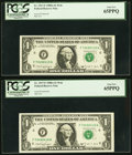 F-N Block, Run 12, Plate Combo 5-4 Fr. 1917-F $1 1988A Federal Reserve Web Notes. Two Consecutive Examples. PCGS Gem New...