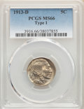 Buffalo Nickels, 1913-D 5C Type One MS66 PCGS. PCGS Population: (485/84). NGC Census: (181/25). CDN: $450 Whsle. Bid for problem-free NGC/PC...