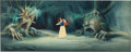 Animation Art:Painted cel background, Snow White and the Seven Dwarfs Snow White Production Cel on Master Production Background (Walt Disney, 1937)....