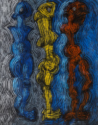 Jesus Maria Desangles (Dominican Republican, b. 1961) Blue Yellow Red figures Oil on canvas 70 x 54-3/4 inches (177.8