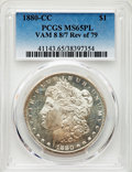 1880-CC $1 Reverse of 1879, 8/7 Dash, VAM-8, MS65 Prooflike PCGS. PCGS Population: (2/0). NGC Census: (0/0). MS65