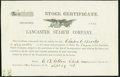 Miscellaneous:Other, Lancaster, OH- Lancaster Starch Company Stock Certificate Share No. 11 Sep. 29, 1866 Very Fine.. ...