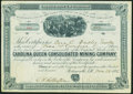 Miscellaneous:Other, Portsmouth, NH- Carolina Queen Consolidated Mining Company Stock Certificate 500 Shares Mar. 25, 1886 Very Fine.. ...