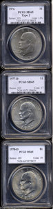 Eisenhower Dollars: , 1976 $1 Type Two MS65 PCGS,... (3 coins)