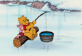 Animation Art:Production Cel, Pooh Catches Spring Fever Winnie the Pooh and Piglet Production Cel and Key Master Background (Walt Disney, 1983)....