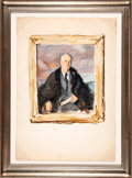 """Military & Patriotic:WWII, Franklin D. Roosevelt: Three Watercolor Proof Studies For Madame Elizabeth Shoumatoff's Legendary """"Unfinished"""" Portrait of FD..."""