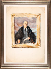 "Franklin D. Roosevelt: Three Watercolor Proof Studies For Madame Elizabeth Shoumatoff's Legendary ""Unfinished""..."