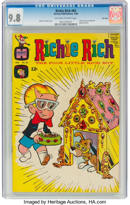 Richie Rich #65 File Copy (Harvey, 1968) CGC NM/MT 9.8 Off-white to white pages....