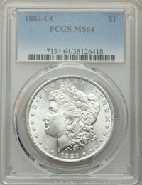 1882-CC $1 MS64 PCGS. PCGS Population: (13165/7359). NGC Census: (6464/3492). CDN: $225 Whsle. Bid for problem-free NGC/...