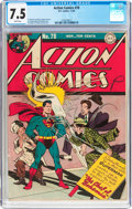 Golden Age (1938-1955):Superhero, Action Comics #78 (DC, 1944) CGC VF- 7.5 White pages....