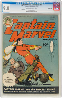 Captain Marvel Adventures #55 Crowley Copy Pedigree (Fawcett Publications, 1946) CGC VF/NM 9.0 Cream to off-white pages...