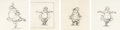 """Animation Art:Production Drawing, Fantasia """"Dance of the Hours"""" Hyacinth Hippo Animation Drawing Sequence of 24 (Walt Disney, 1940).... (Total: 24 Original Art)"""