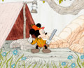 Animation Art:Production Cel, The Pointer Mickey Mouse Production Cel and Painted Background (Walt Disney, 1939). ...