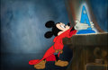 Animation Art:Production Cel, Fantasia Mickey Mouse as The Sorcerer's Apprentice Production Cel on Master Production Background (Walt Disney, 1940)....