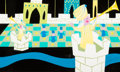 "Animation Art:Concept Art, Mary Blair ""It's a Small World"" Russia Concept Painting (Walt Disney, 1964/66). ..."