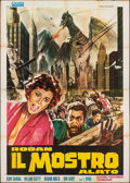 "Movie Posters:Science Fiction, Rodan! The Flying Monster (Ardin, R-1968). Folded, Fine+. Italian 4 - Fogli (55"" X 77.5"") Mario Piovano Artwork. Science Fic..."