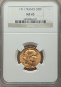France: Republic gold 20 Francs 1911 MS65 NGC