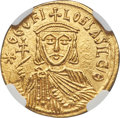 Ancients: Theophilus (AD 829-842), with Michael II Armorian and Constantine. AV solidus (20mm, 4.39 gm, 6h). NGC MS 5/5...