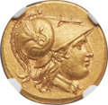 Ancients:Greek, Ancients: MACEDONIAN KINGDOM. Alexander III the Great (336-323 BC). AV stater (18mm, 8.53 gm, 12h). NGC Choice AU★ 5/5 - 5/5, Fine...