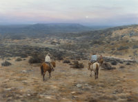 Jimmy Don Cox (American, b. 1951) Cowboys on the Range, 1980 Oil on canvas 30 x 40 inches (76.2 x 101.6 cm) Signed a
