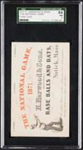 Baseball Collectibles:Others, 1871 H. Harwood & Sons Base Ball and Bats Manufacturer Advertising Card, SGC 84 NM 7. ...