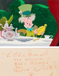 Animation Art:Production Cel, Alice in Wonderland Mad Hatter Production Cel with Painted Background and Walt Disney Signature (Walt Disney, 1951)....