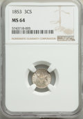 Three Cent Silver: , 1853 3CS MS64 NGC. NGC Census: (216/114). PCGS Population: (222/224). MS64. Mintage 11,400,000. ...