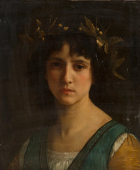 William Adolphe Bouguereau (French, 1825-1905) Tête d'Italienne avec une couronne de laurier (Head of an Italia
