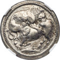 Ancients: MACEDON. Acanthus. Ca. 470-430 BC. AR tetradrachm (27mm, 17.17 gm, 8h). NGC AU 5/5 - 4/5, Fine Style