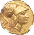 Ancients:Greek, Ancients: MACEDONIAN KINGDOM. Alexander III the Great (336-323 BC). AV stater (18mm, 8.57 gm, 6h). NGC MS★ 5/5 - 4/5, Fine Style....