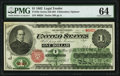 Large Size:Legal Tender Notes, Fr. 16c $1 1862 Legal Tender PMG Choice Uncirculated 64.. ...