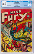Golden Age (1938-1955):Superhero, Miss Fury #1 (Timely, 1942) CGC GD/VG 3.0 Off-white pages....