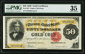 Large Size:Gold Certificates, Fr. 1197 $50 1882 Gold Certificate PMG Choice Very Fine 35.. ...