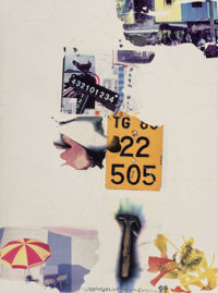 Robert Rauschenberg (1925-2008) Count (Shales), 1994 Fire wax and transfer on canvas mounted on boar