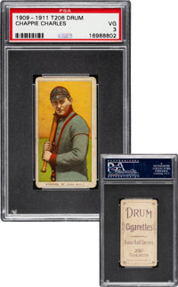1909-11 T206 Drum Chappie Charles PSA VG 3 - The Only PSA & SGC Graded Example!